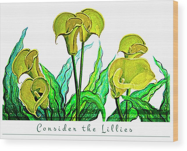 Oil Painting Wood Print featuring the painting Consider The Lillies by Ian Anderson