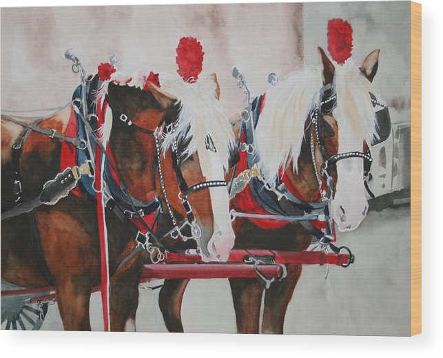 Horse Wood Print featuring the painting Dandy Duo by Jean Blackmer