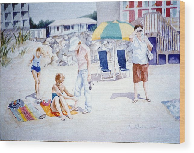 Beach Wood Print featuring the painting Day At The Beach by Anne Rhodes