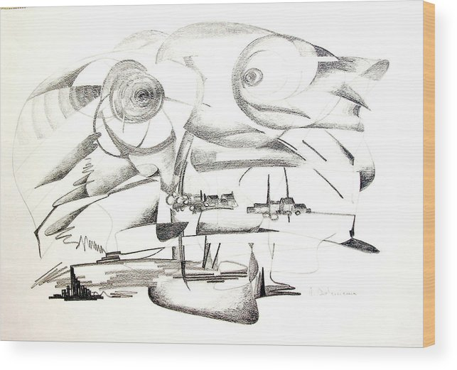 Abstract Wood Print featuring the drawing Delire by Muriel Dolemieux