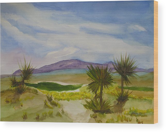 Golf Course; Mountain; Desert; Green Sky; Landscape Wood Print featuring the painting Desert Green by Jeneane Mixon