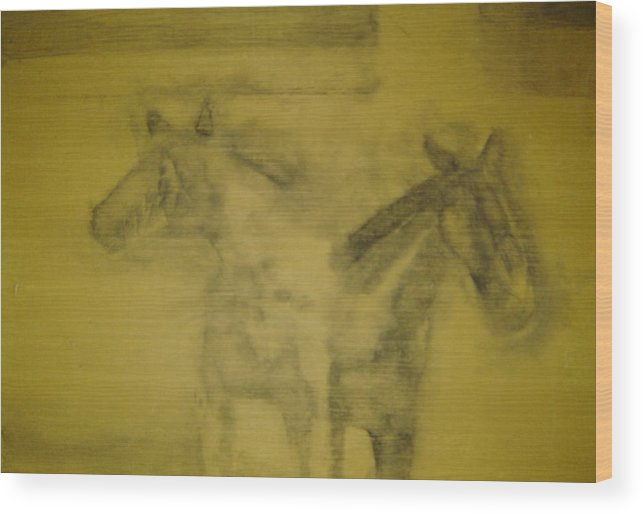 Horse Wood Print featuring the drawing Dreamscape by Dean Corbin