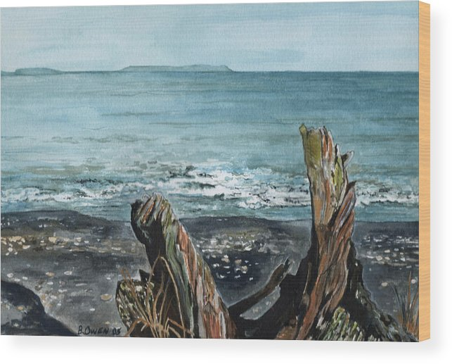 Watercolor Wood Print featuring the painting Driftwood by Brenda Owen