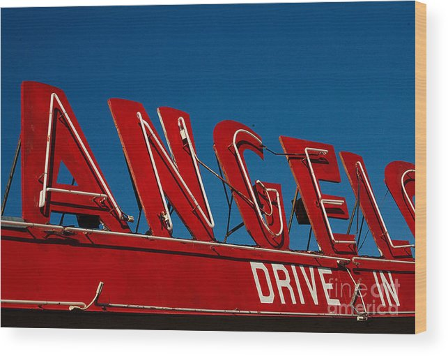 Angel Wood Print featuring the photograph Drive In- California by April Bielefeldt