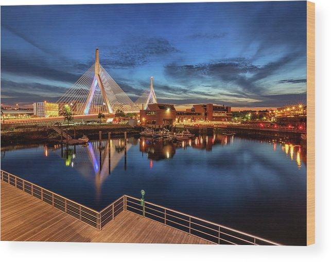 Boston Wood Print featuring the photograph Dusk At The Zakim Bridge by Kristen Wilkinson