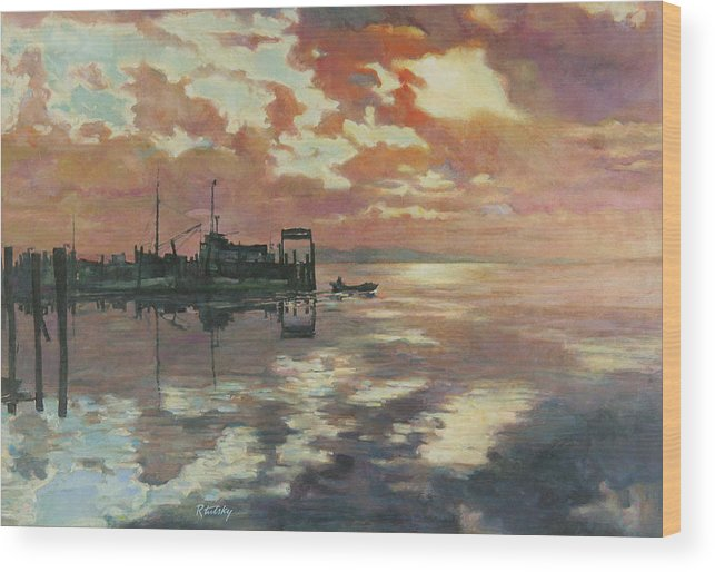 Harbor Wood Print featuring the painting Early Departure by Robert Tutsky