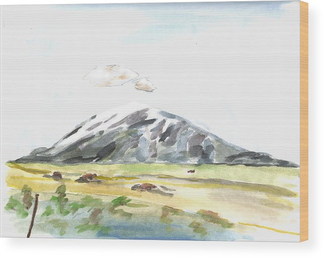 Kevin Callahan Wood Print featuring the painting Elk Mountain Wyoming by Kevin Callahan