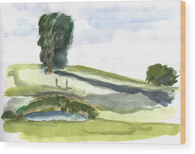 Kevin Callahan Wood Print featuring the painting English Countryside by Kevin Callahan