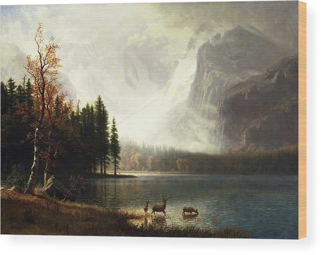 Pastoral Wood Print featuring the painting Estes Park, Colorado, Whyte's Lake by A Bierstadt