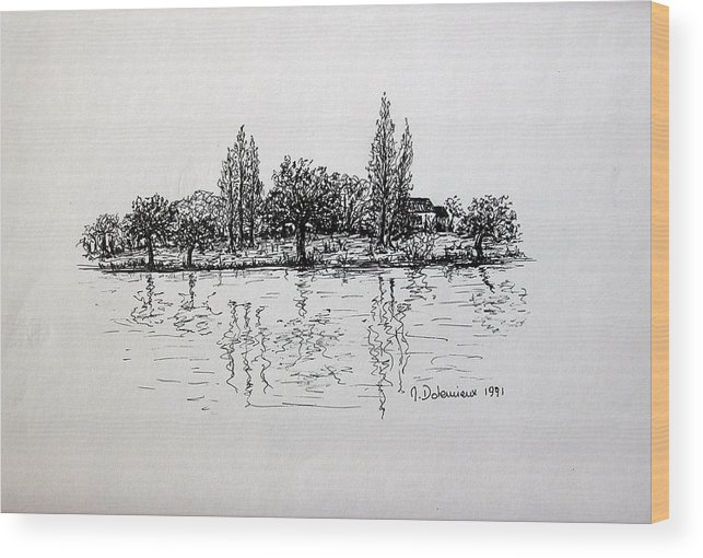 Landscape Wood Print featuring the drawing Etang by Muriel Dolemieux