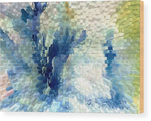 Abstract Wood Print featuring the painting Extrude by Steve Karol