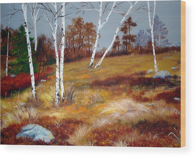 Maine Wood Print featuring the painting Fall Birch Trees And Blueberries by Laura Tasheiko