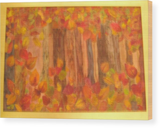 Fall Colors Wood Print featuring the mixed media Falling Leaves by Sheryl Sutherland