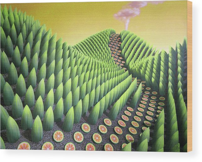 Tree Wood Print featuring the painting Fargesia Victualia by Patricia Van Lubeck