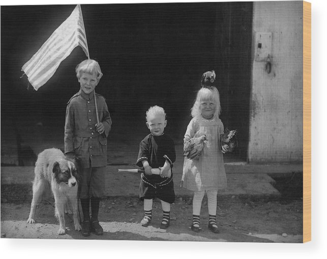 Farm Life Wood Print featuring the photograph Farm Children And Flag by Unknown