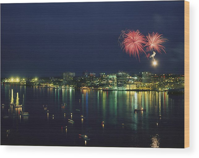 North America Wood Print featuring the photograph Fireworks Over Halifax Harbor Celebrate by James P. Blair