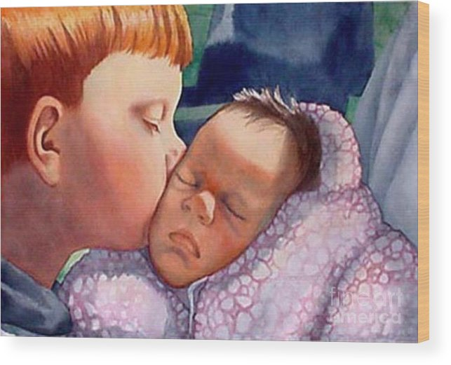 Portrait Wood Print featuring the painting First Kiss by Gail Zavala