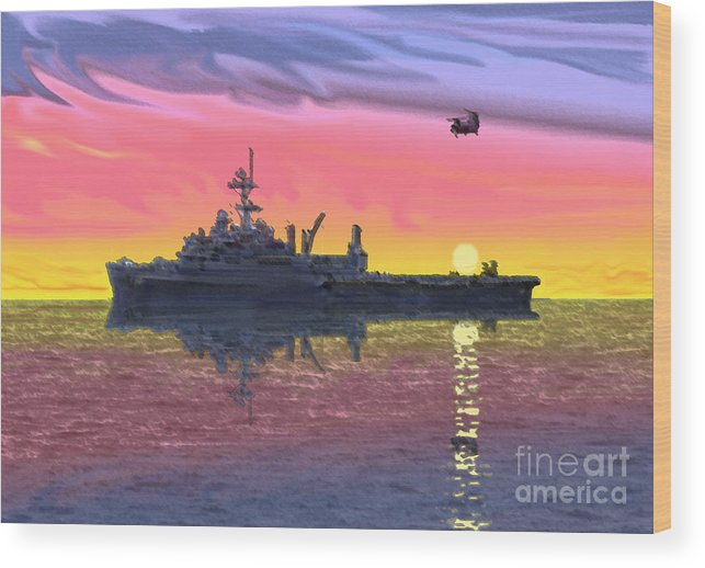 Uss Juneau Wood Print featuring the photograph Flight Ops At Sunset by Donald Maier