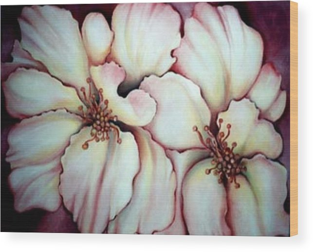 White Flower Wood Print featuring the painting Flighty Floral by Jordana Sands