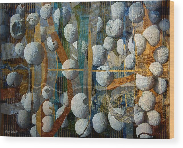 Photopainting Wood Print featuring the digital art Floating Elements by Helga Schmitt