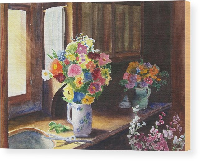 Flowers Wood Print featuring the painting Floral Arrangements by Karen Fleschler