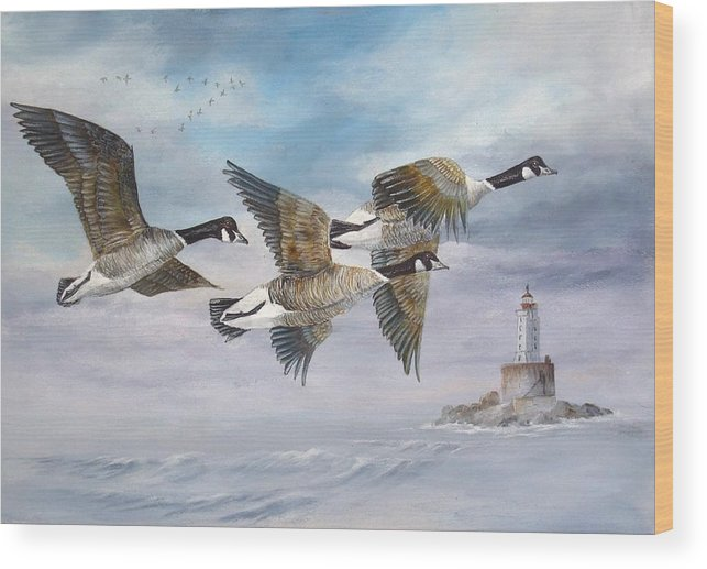 Aleutian Geese Wood Print featuring the painting Flying Home by Lynne Parker