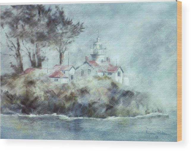 Lighthouse Wood Print featuring the painting Fog At Batterypoint Lighthouse by Lynne Parker