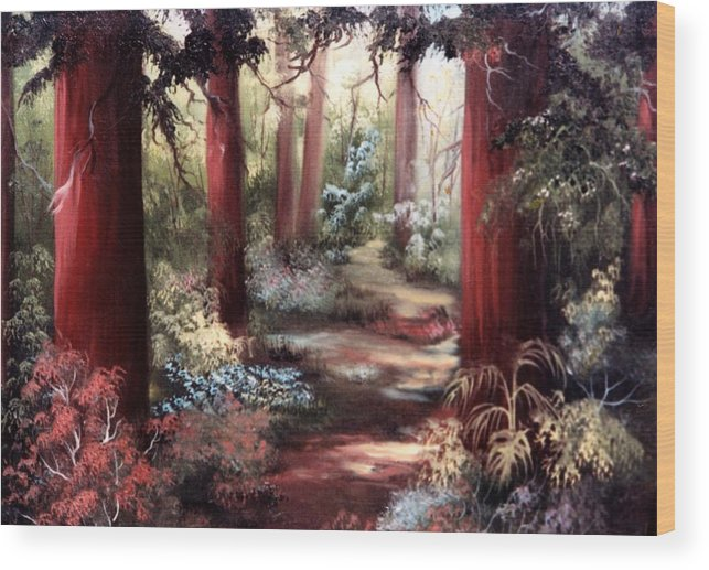 Oil Painting Wood Print featuring the painting Forest Path by Joni McPherson