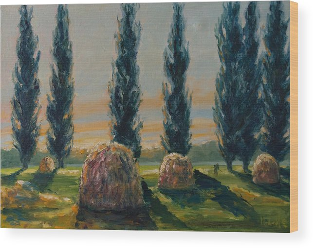 Trees Wood Print featuring the painting France Iv by Rick Nederlof