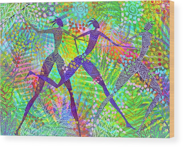 Jungle Tropical Rain Forest Figures Colourful Magical Wood Print featuring the painting Freedom In The Rain Forest by Jennifer Baird