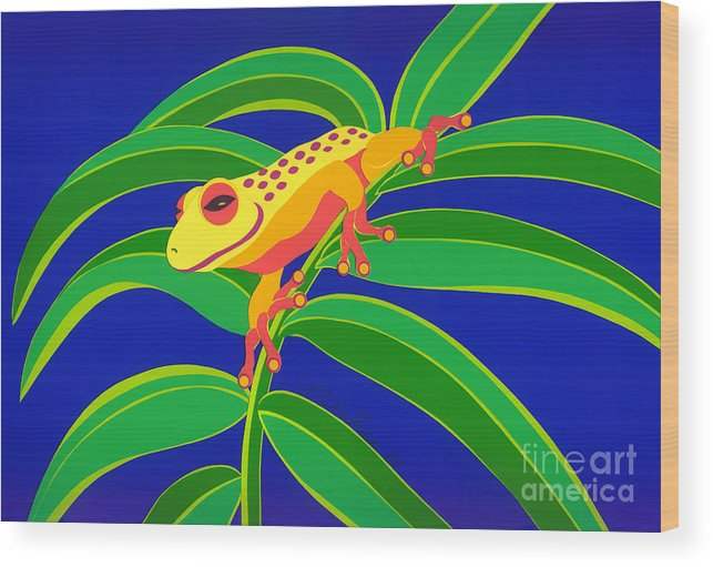 Nature Wood Print featuring the drawing Frog On Branch by Lucyna A M Green