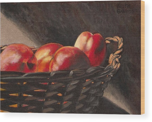 Fruit Wood Print featuring the drawing Fruit Basket by Keith Gantos