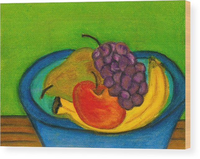 Still Life Wood Print featuring the drawing Fruit In Bowl by Katina Cote