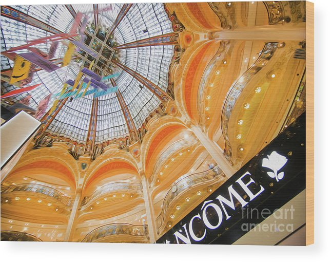 Galeries Lafayette Wood Print featuring the photograph Galeries Lafayette Inside Art by Alex Art and Photo