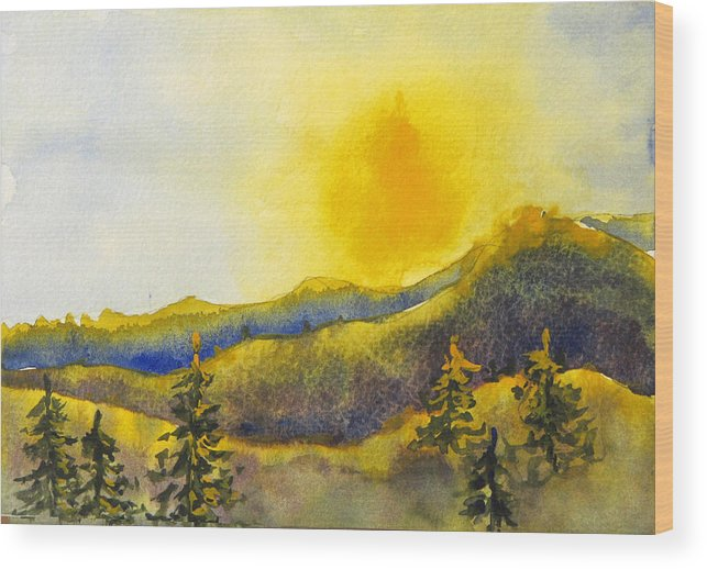 Sunset Wood Print featuring the painting Gassaway Sunset by Libby Cagle