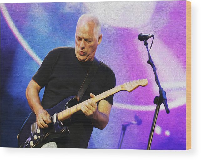 David Gilmour Wood Print featuring the painting Gilmour Maroon Nixo by Never Say Never