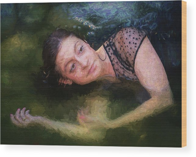 Girl Wood Print featuring the painting Girl In The Pool 15 by Mike Penney