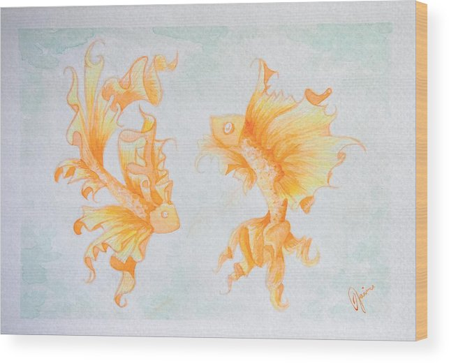 Fish Wood Print featuring the painting Goldfish by Jaime Violano