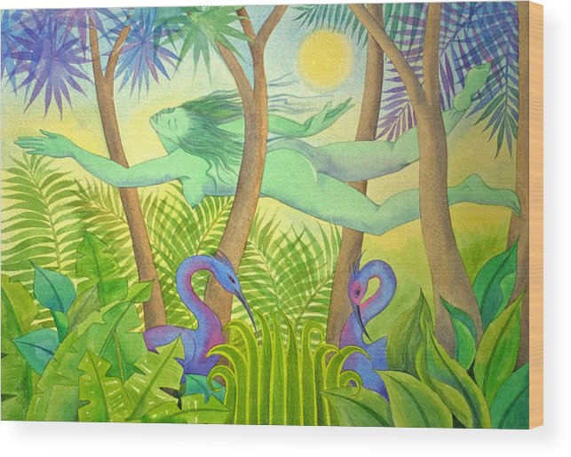Jungle Flying Dream Exotic Birds Tropical Forest Sensuous Wood Print featuring the painting Green Lady Flying by Jennifer Baird