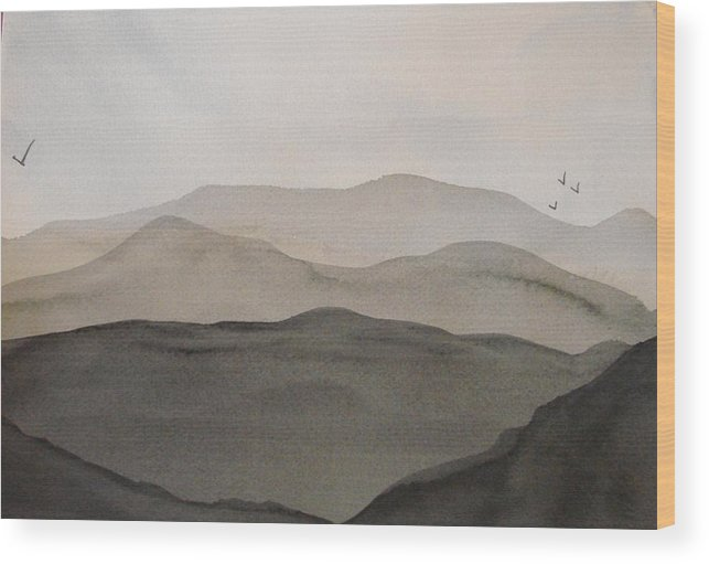 Landscape Wood Print featuring the painting Grey Mountains by Liz Vernand