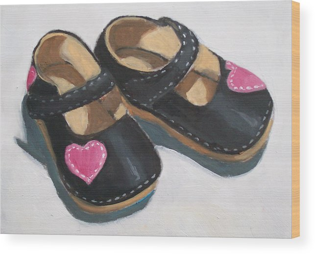 Girl Wood Print featuring the painting Her Little Shoes by Joyce Geleynse