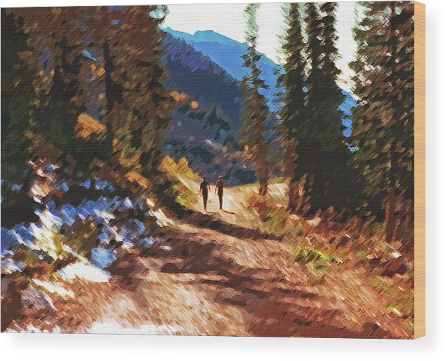 Hikers Wood Print featuring the photograph Hiking Couple In The Wasatch by Steve Ohlsen