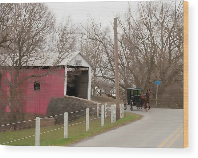 Bridge Wood Print featuring the photograph Horse Buggy And Covered Bridge by David Arment