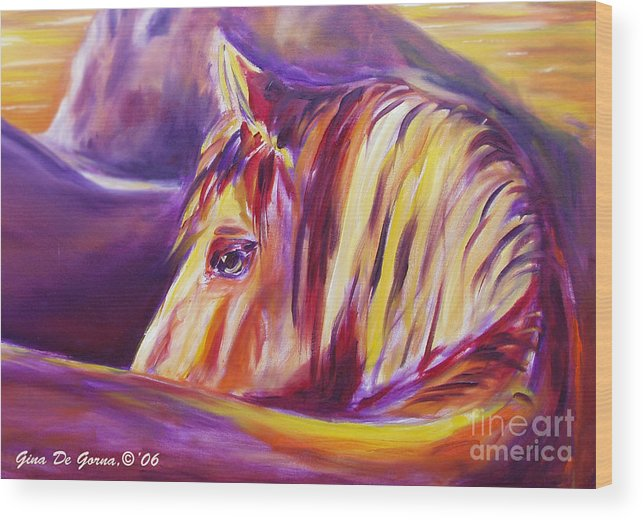Horses Wood Print featuring the painting Horse World Detail by Gina De Gorna