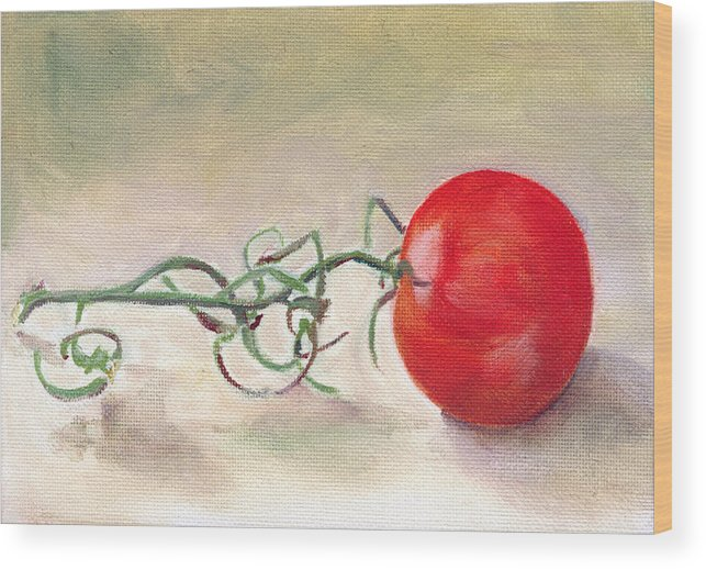Food Wood Print featuring the painting Hot-house Tomato by Sarah Lynch