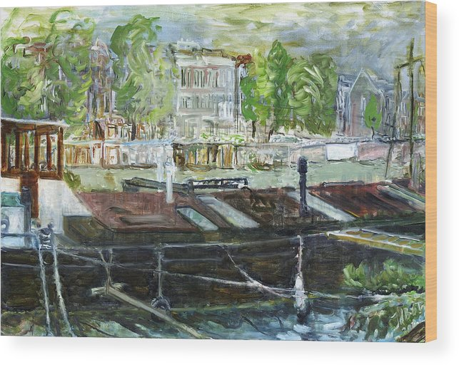 Amsterdam House Boat Canal Trees Houses Sky Water Thunderstorm Wood Print featuring the painting House Boat In Amsterdam by Joan De Bot