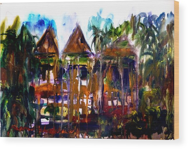 Traditional Thailand Wood Print featuring the painting House by Wanvisa Klawklean