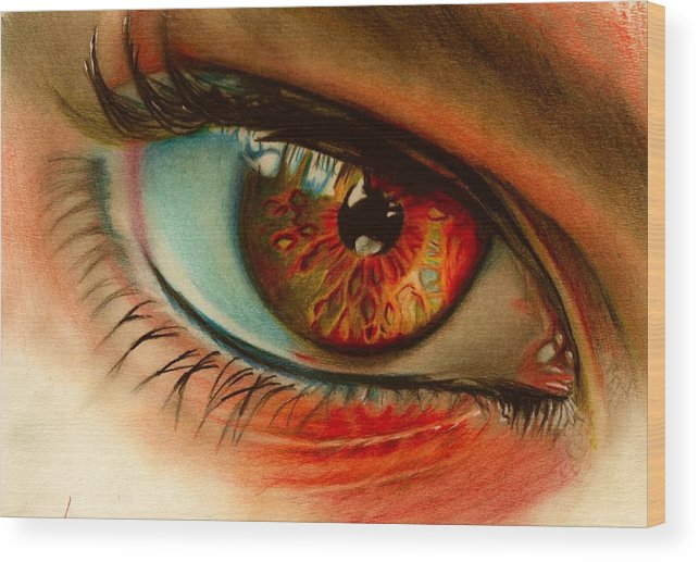 Eye. Colour Pencil Wood Print featuring the drawing i by Brian Scott