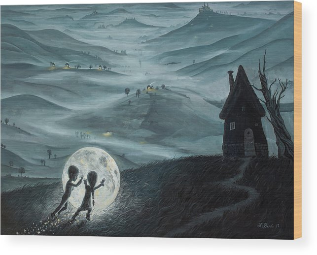 Kids Wood Print featuring the painting I Love Dreaming Into That Dying Light by Adrian Borda