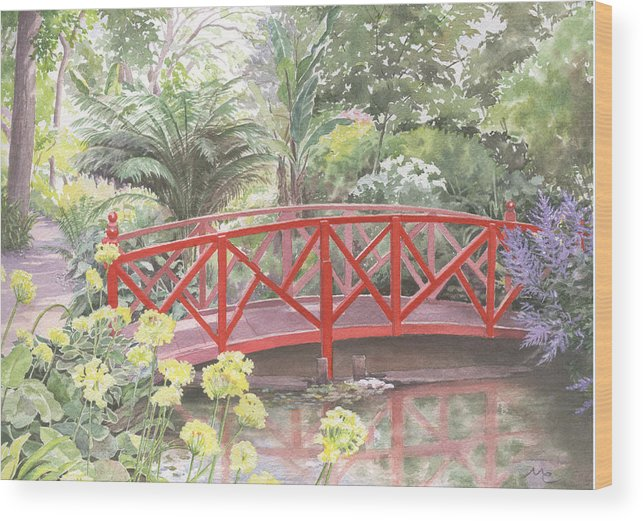Landscape Wood Print featuring the painting In Abbotsbury Subtropical Gardens. by Maureen Carter
